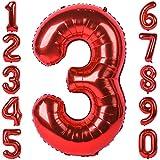 40-Zoll 0-9 in Rot Nummer Foil Ballons Helium Zahlenballon Luftballon Riesenzahl Party Hochzeit Kindergeburtstag Geburtstag (Nummer 3)