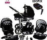 Chilly Kids Dino 4 en 1 Poussette combinée kit de voyage (siège auto, base ISOFIX, habillage pluie, moustiquaire, roues pivotantes 55 couleurs) 05 noir & fleurs blanches