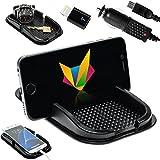 Mobilefox KFZ Anti-Rutsch Matte integr. Handy Halterung + Ladekabel + Adapter SET für Apple iPhone 7/Plus/6/S/5 - Rutschfestes Auto Halter Pad