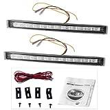 Sonline 2 DRL 12 LED Ampoule Lampe Feu de Jour Clignotant Blanc+Jaune 12V pour Autos