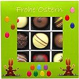 Hallingers 9er Pralinen-Mix handgemacht, mit/ohne Alkohol (108g) - Frohe Ostern grün (Pralinenbox) - zu Ostern