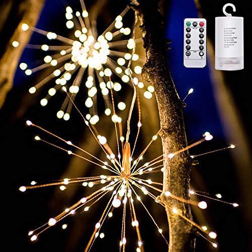 sakj-d Urlaub Dekoration Lampe LED Solarenergie Lampe String Feuerwerk Lampe String Batterielampe Hochzeit Laterne Dekoration Lampe Im Freien, (BatterieFernbedienung) Warmes Licht - Laterne Fernbedienung