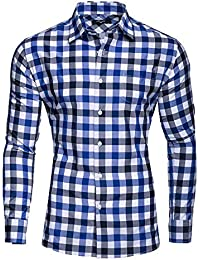 ffb21317837d7 Kayhan Men´s Long Sleeve Casual Shirt Slim fit Easy Iron Modell -Checked  Oktoberfest