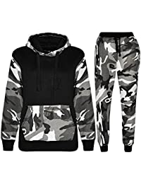 452ab2c901c9 Kids Contrast Cord Fleece Full Zip up Boys Camo Print Tracksuit Hoodie Gym  Pullover Suit Jogging