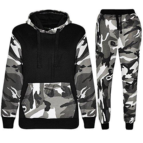 Kids Contrast Cord Fleece Full Zip up Boys Camo Print Tracksuit Hoodie Gym Pullover Suit Jogging Joggers