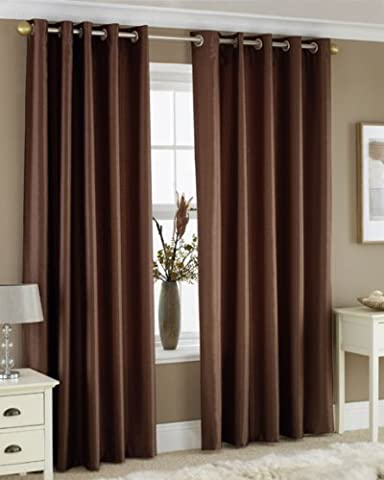 CHOCOLATE BROWN FAUX SILK LINED CURTAINS WITH EYELET RING TOP 90 x 90 by Bedding Online
