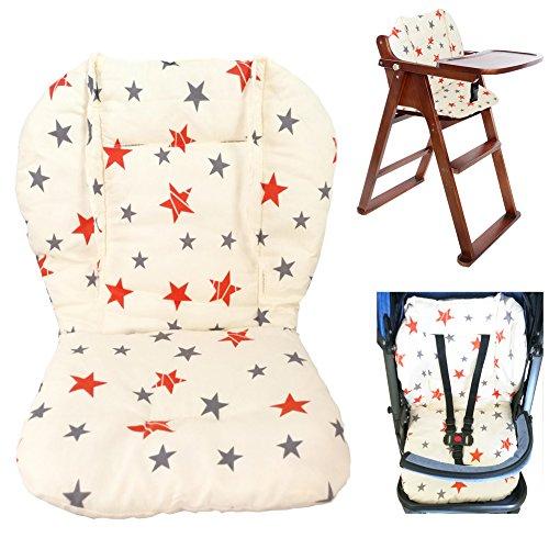 Cojín para silla de bebé alta, cojín para asiento de bebé cojín para silla alta, cojín de doble...