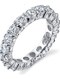 Ultimate Metals® Anillo Eternidad en Plata Esterlina, Banda De Matrimonio Con Circonitas Redondas 3.5