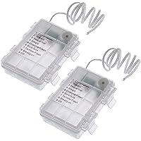 SoulBay 2 piezas de 3 x 1,5 V AA impermeable soporte de la batería de reemplazo con 8 modo activado el interruptor de Cap cables conductores - caja de la caja de la batería para AA 3 células y la cadena de luces LED