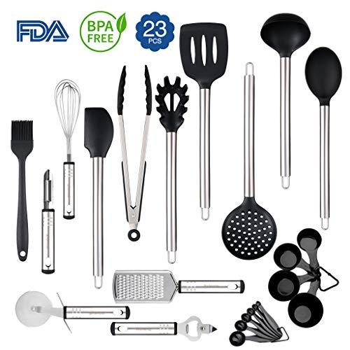 Rackaphile Silikon küchenhelfer 23 Set, Küchenzubehör aus Edelstahl und hitzebeständige Silikon, hitzebeständig, FDA & LFGB genehmigt, BPA frei, geeignet für Geschirrspüler, schwarz