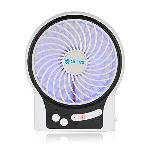 SUNDY 3modes de vitesse du vent réglable avec batterie rechargeable 18650et câble USB Mini ventilateur portable multifonction rechargeable Ventilateur USB Bureau ventilateur ventilateur de table Ventilateur