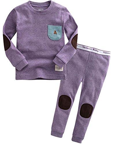 2 Stück Baumwolle Pyjama Bottoms (Vaenait baby Kinder Maedchen Nachtwaesche Schlafanzug-Top Bottom 2 Stueck Set Simple Pocket Purple M)