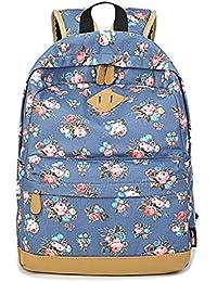 HAPPYTIMEBELT Double Zipper Flower Printing School Backpack Student Book Bag(Light Blue)