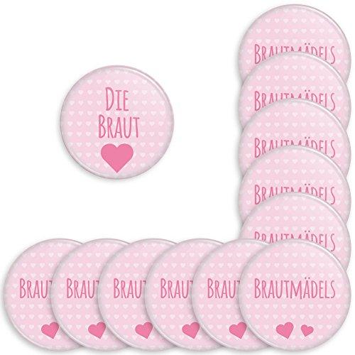 Werbewas 12er Set Runde Buttons für feierliche Anlässe - Hochzeit - Junggesellenabschied / JGA Party - Trauung (38mm) Motiv Brautmädels - rosa mit Nadel-Anstecker