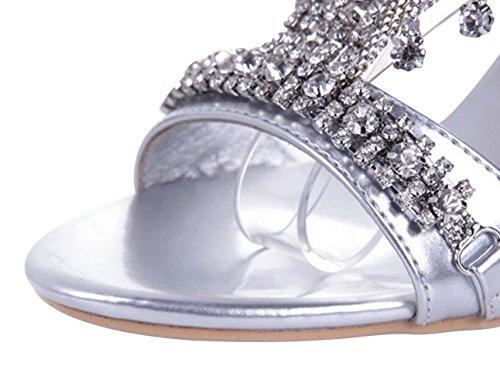 Chalmart Sandales à Talon Sandales Femme élégant Chaussures De Talon Mode Argenté