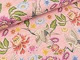 Quality Textiles Digital Print Melange Jersey Kraniche und