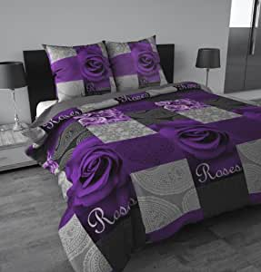 sleeptime housse de couette garden rose violet 200 x 200 violet avec 2 housse d 39 oreiller. Black Bedroom Furniture Sets. Home Design Ideas