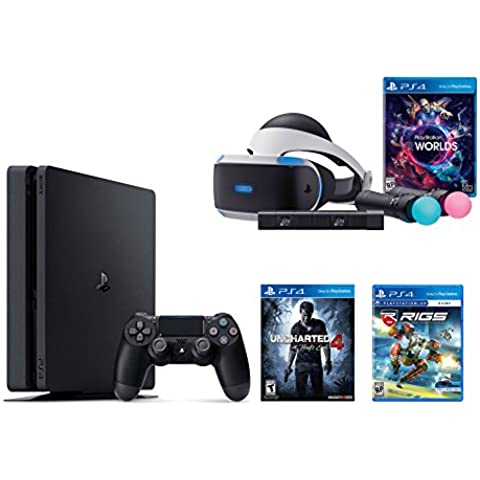PlayStation VR Launch Bundle 3 Items:VR Launch Bundle,PlayStation 4 Slim 500GB Console - Uncharted 4,VR Game Disc RIGS Mechanized Combat League(Versión EE.UU.,