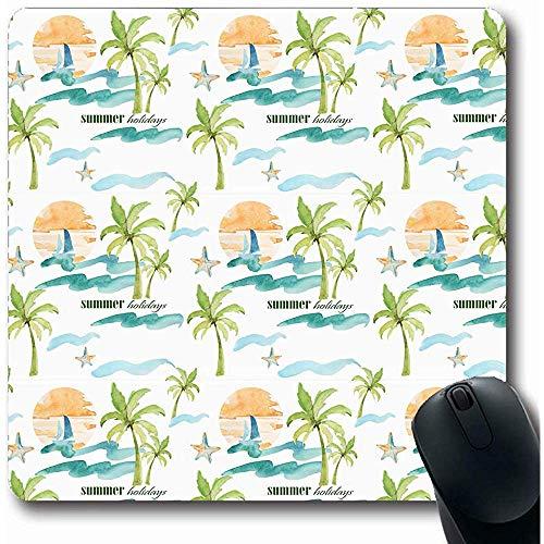 Mauspads für Computer Island Blue Agency Aquarell Nautisch Auf Muster Tour Künstlerisch Strandboot Färbung Zeichnung Design Längliche Form Rutschfeste Längliche Gaming Mausunterlage 30X25CM