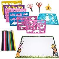 Set de Plantillas de Dibujos - Paquete de 15 - Incluye variedad de Formas, Papel, Crayones, Etc - Perfecto para Niños - Educativo y Divertido - Ideal para Navidad