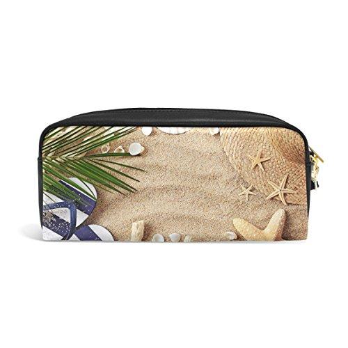 (Domoko Federmäppchen für den Sommer, Strand, Palme, Seestern, Muschel, PU-Leder, für Make-up, Kosmetik, Reisen, Schultasche)