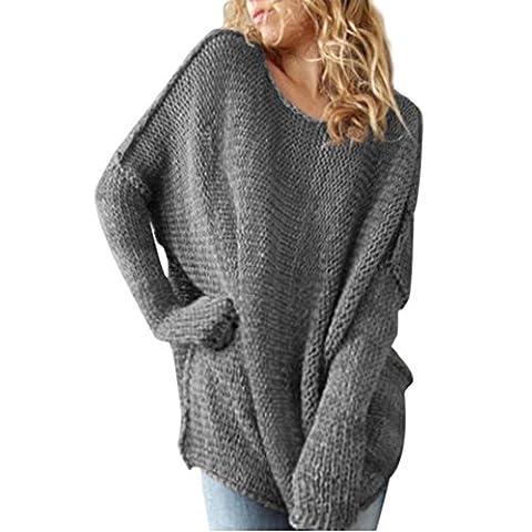 Womens Jumper, Xinantime Long Sleeve Oversize Loose Sweater (M, Grey)