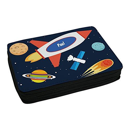 Schul-Mäppchen mit Namen Paul und schönem Weltraum-Motiv für Jungs inkl. Stifte, Lineal, Radierer, Spitzer