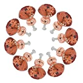 10pcs Crystal Glass Cabinet Door Knobs 30mm K9 Rose Gold Diamond Shape Pull Handle for Kitchen Drawer Wardrobe Cupboard