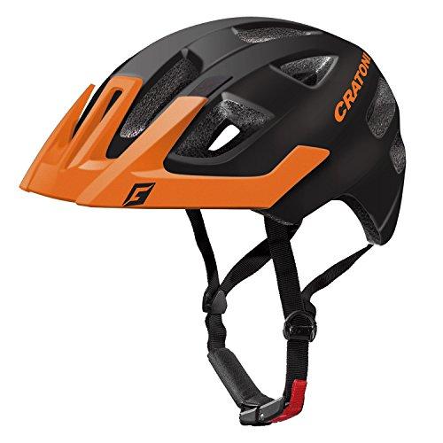 Cratoni Kinder Maxster Pro Fahrradhelm, Black/Orange Matt, XS-S