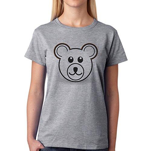 Yogi Bear Cartoon Animal White Head Damen T-Shirt Grau