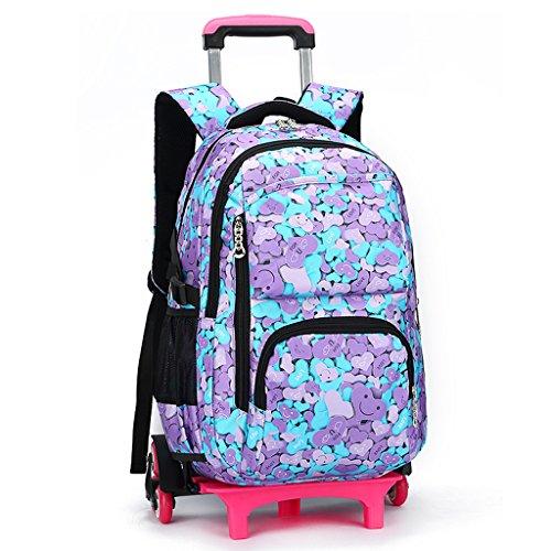 Junge Mädchen Trolley Schultaschen Rucksack - Kinder Rollen Schulrucksack Schultasche Rucksäcke Rollenreisetasche Sportrucksack für Jugendliche
