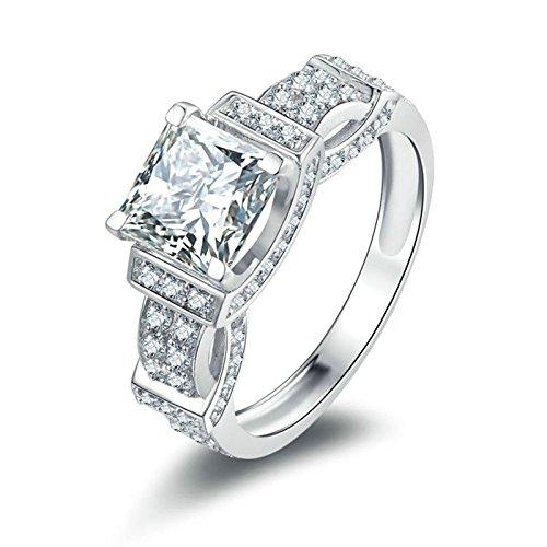 SonMo 925 Ring Silber Trauringe Paarringe Eheringe Ring Solitär Weiß Damen Diamant Ring Prinzess Zirkonia Ringe für Frauen Größe 52 (16.6) (Solitär-diamant-ring 2ct)