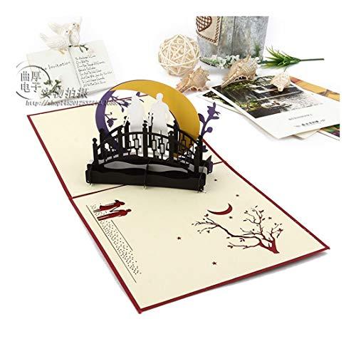 ZHOUBIN 2 fogli/set Carving and Hollowing Out 3D Cards/Greeting Cards/Regali di Natale Capodanno/Auguri di compleanno/Gli amanti del prossimo mese