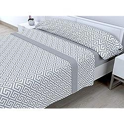Cabetex Home - Juego de sábanas termicas de pirineo - 3 Piezas - 120 Gr/m2 - Mod. Talas (Gris, 150_X_190/200 cm)