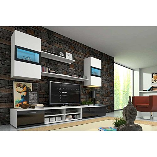 JUSThome Omega Wohnwand Anbauwand Schrankwand Farbe: Weiß Matt / Weiß-Schwarz Hochglanz