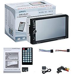 TOOGOO 7021G 2 Din Lecteur de Voiture MP5 Ecran Tactile de 7 Pouces Fonction de Carte de l'UE GPS Radio SD USB AUX Vue Arriere Lecteur de Voiture de Controle de Volant