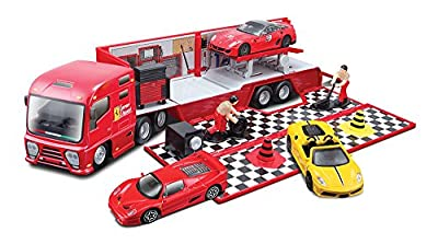 Bburago 15631202 Ferrari Race & Play - Camión de transporte con vehículo incluido [Importado de Alemania] de Bburago