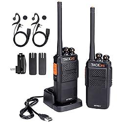 Walkie Talkie Profesional, TACKLIFE-MTR01 Walkie Talkie Recargable 3-4 km con 16 Canales, PMR 446 MHz, 2 Auriculares y Cargador USB