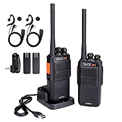 Walkie Talkie - 2 Pcs, Tacklife Mtr01 Two-way Radio With Upgraded Original Earpieces Rechargable Li-ion Battery Handheld Transceiver 16 Channels Pmr446 5.5km Range Vox Tot For Survival Camping Driving