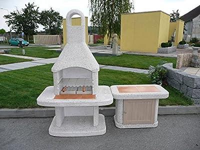 Siesta Grillkamin inkl. Beistelltisch + Holztür / Wellfire