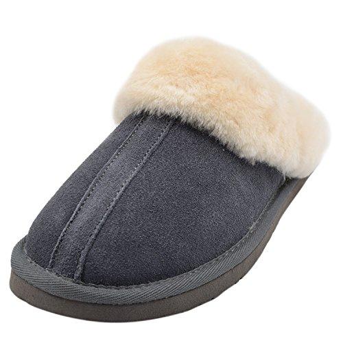 Oasap Femme Mode Hiver Chaut Plat Chaussons Grey