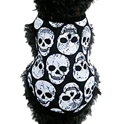 Personalised Fashion Cute pet Clothing ! sunnymi® Summer Lovely Puppy Small Dog Cat Cotton Skull Vest T-Shirt Apparel Clothes Perfect for Walking Jogging XS S M L