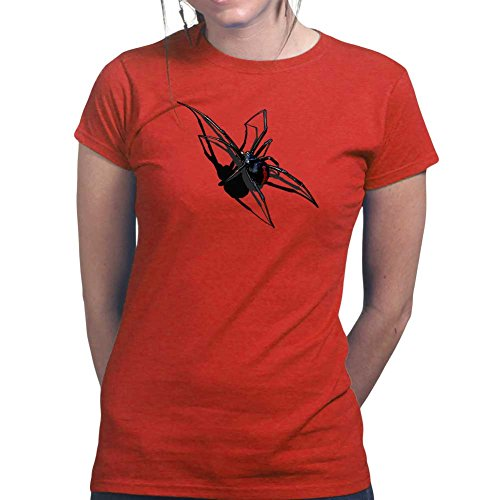 Womens Real 3D Spider Halloween Scary Ladies T Shirt (Tee, Top) XS Red