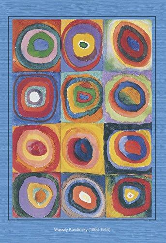 Artoz Kunstkarte Kandinsky: Quadrate m. Ringen, Format B6, ein Set besteht aus Einlegeblatt, Kuvert und Karte - verpackt zu 3 Sets - Preis für 3 Sets (Applizierte Spitze)