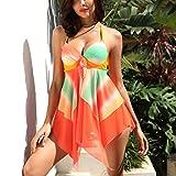 Junjie Damen Tankini Sets Mit Jungen Shorts Damen Bikini Set Bademode Push-Up Gepolsterter BH Bikinihose und Neckholder für Mädchen Bademode Bikini Set Zweiteilige Badeanzug Orange