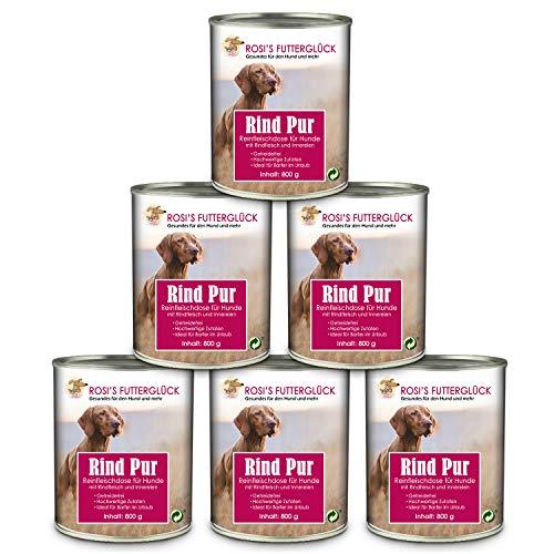 Rosi's Futterglück 6er Reinfleisch Dosen Hund 73% Rind Pur Nassfutter - Hochwertige Rindfleischdose Hundefutter Nass getreidefrei 6x800g