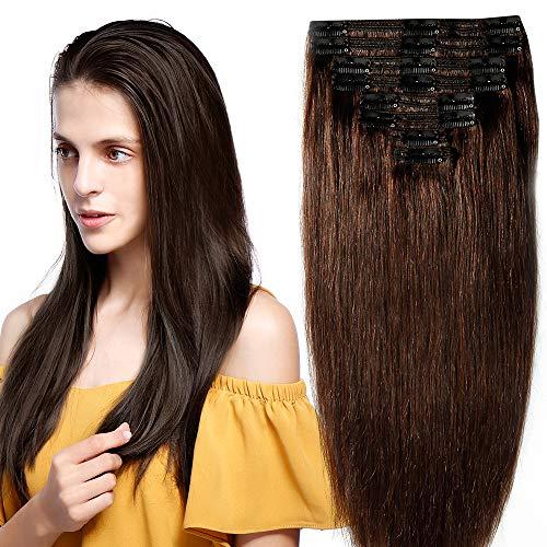 Clip in extensions echthaar Doppelt Tressen 100% Remy Echthaar 8 teiliges set Haarverlängerung dick (50cm-150g,#2 Dunkelbraun)