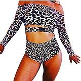 Setsail Damen Einteiliger Badeanzug mit Leopardenknöpfen Langarm-Sonnencreme-Bikini-Set Surfen Sie Wassersport-Bikini (Schwarz, S)