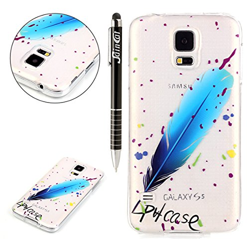 SainCat Custodia Galaxy S5, Custodia Ultra Slim Silicone Trasparente Morbido Shock-Absorption Cover per Samsung Galaxy S5(Piuma Blu)