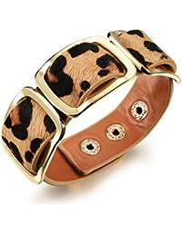 "bigsoho Black/Brown/Leopard print Leather Adjustable Wrap Bangle Belt Style w/ 3 Golden Alloy Frames Women Bracelet 6.29""-7.08"""